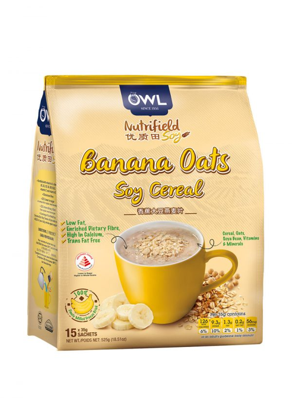 OWL Nutrifield Banana Oats Soy Cereal - Low Fat 525g